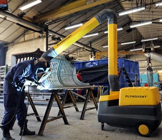 A mobile filter unit of Plymovent combined with an extraction arm provides effective welding fume extraction.